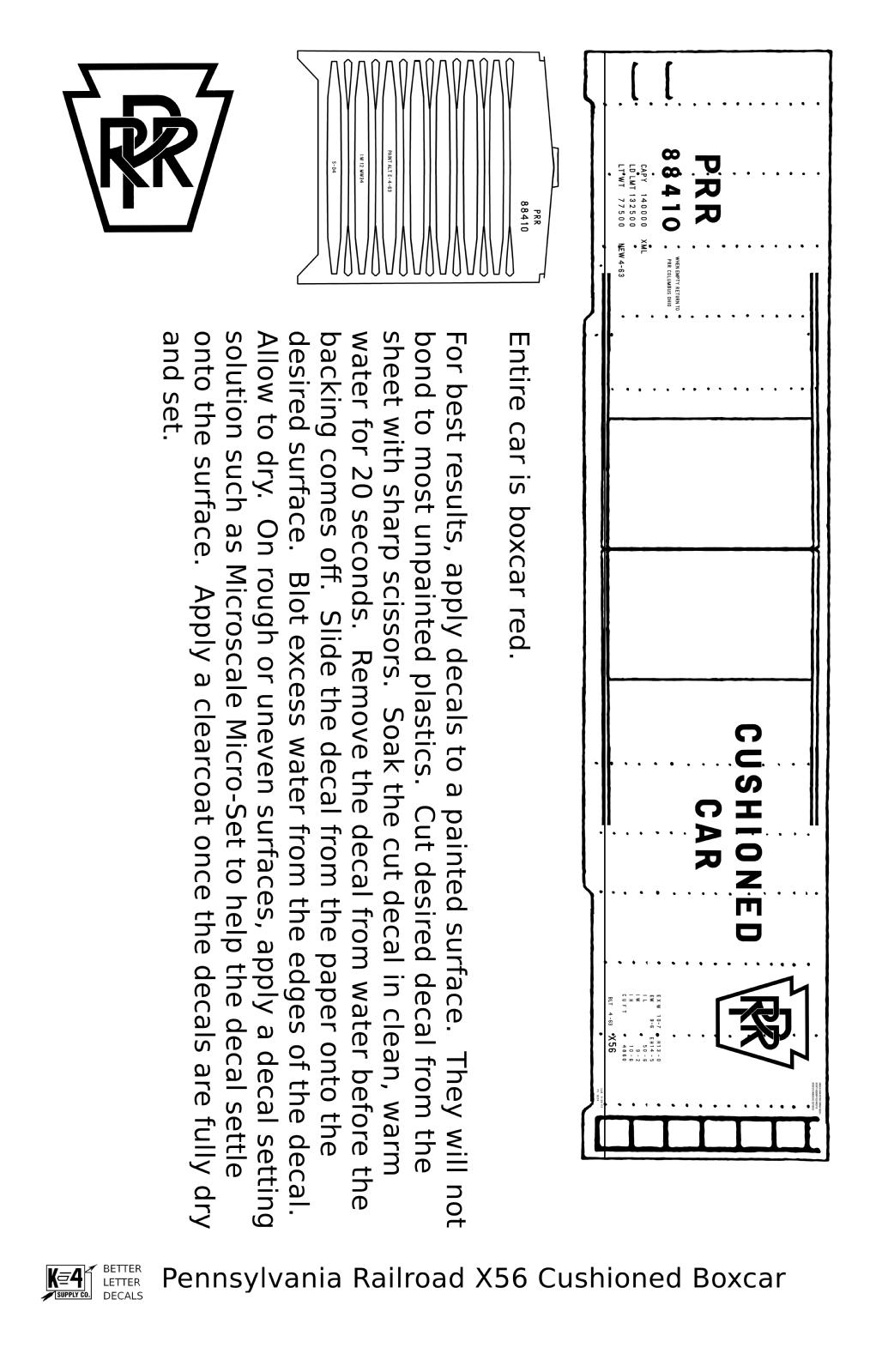 K4 HO Decals Pennsylvania PRR X56 50 Ft Double Door Boxcar Cushioned Car