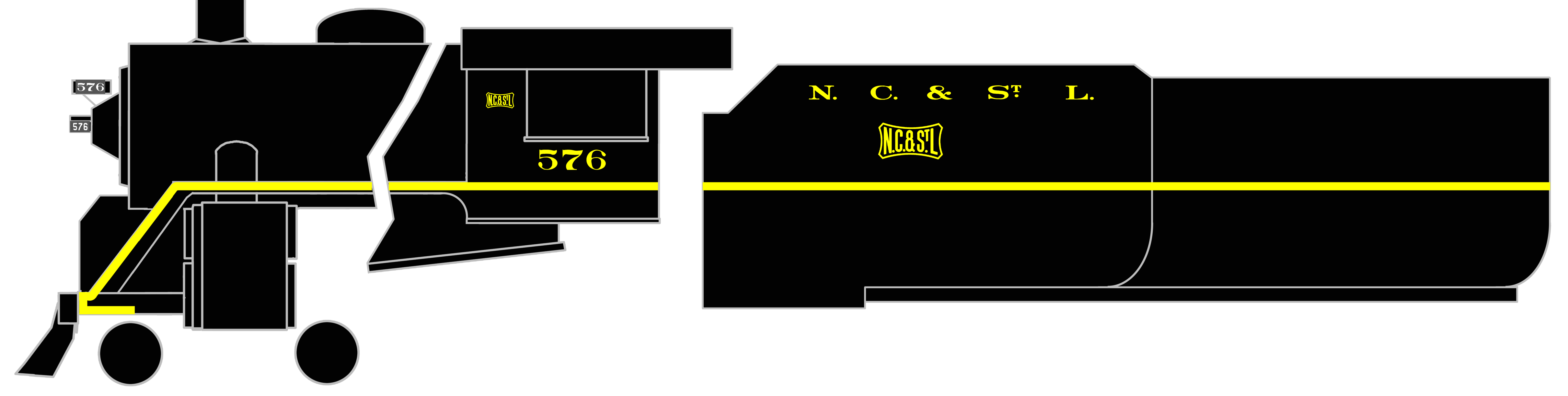 K4-S-Decals-Nashville-Chattanooga-and-St-Louis-Steam-Locomotive-Yellow-NC-amp-StL thumbnail 3
