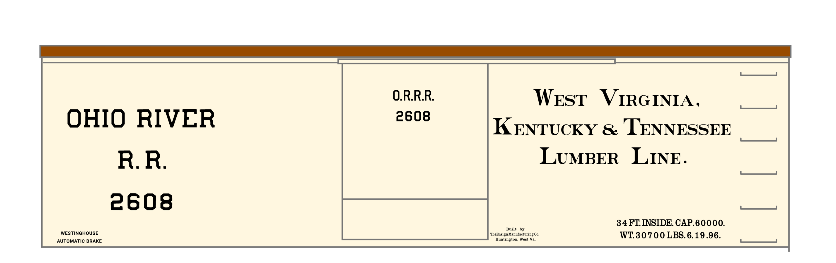 K4-HO-Decals-Ohio-River-Railroad-36-Ft-Wood-Boxcar-Black thumbnail 3