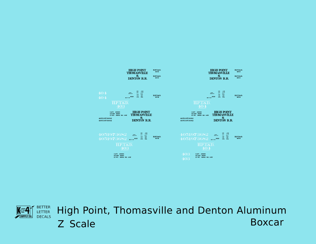 K4-Z-Decals-High-Point-Thomasville-and-Denton-40-Ft-Boxcar-Black-and-Blue