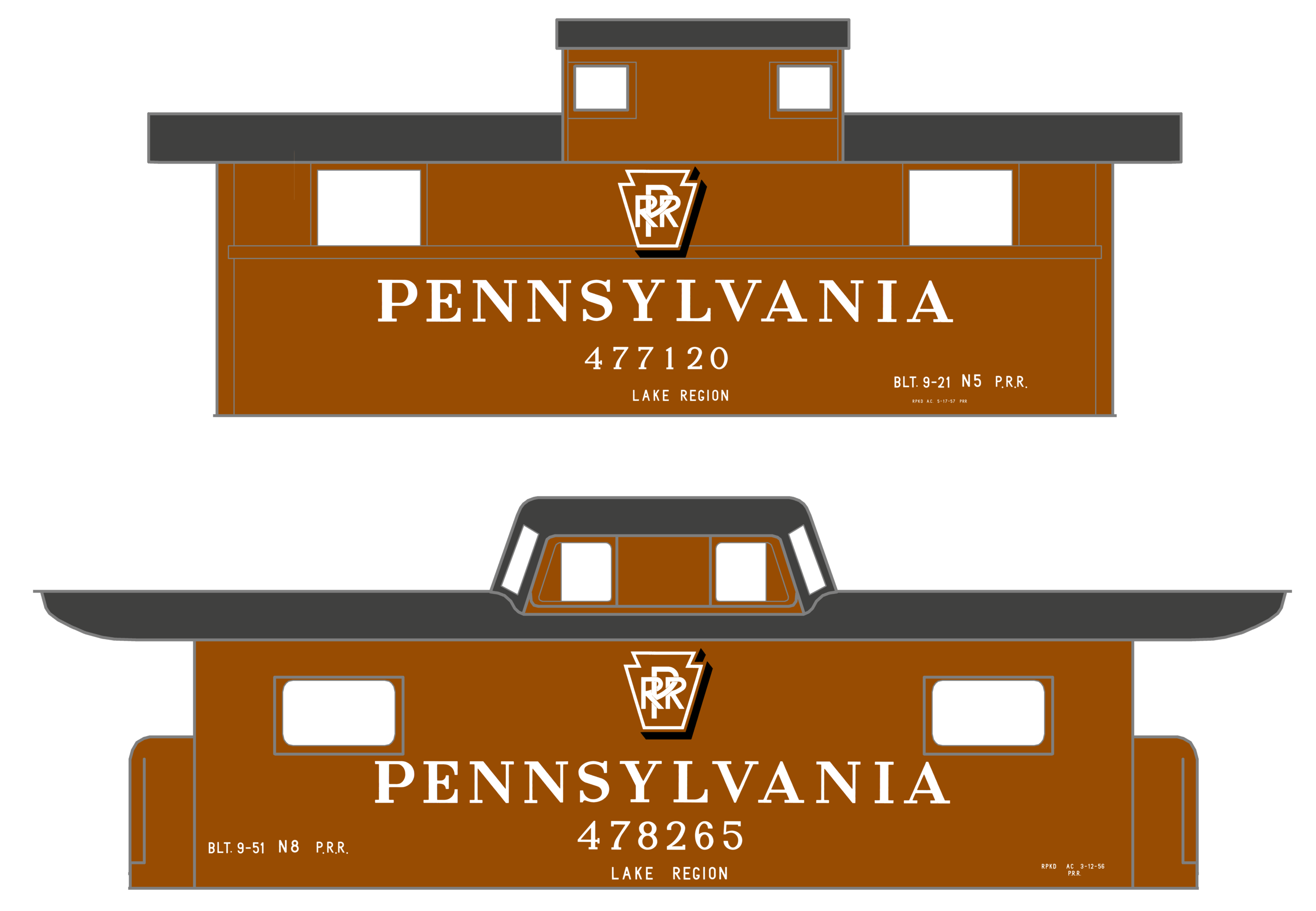 K4-HO-Decals-Pennsylvania-Railroad-PRR-Cabin-Car-Caboose-White-Shadow-Herald thumbnail 3