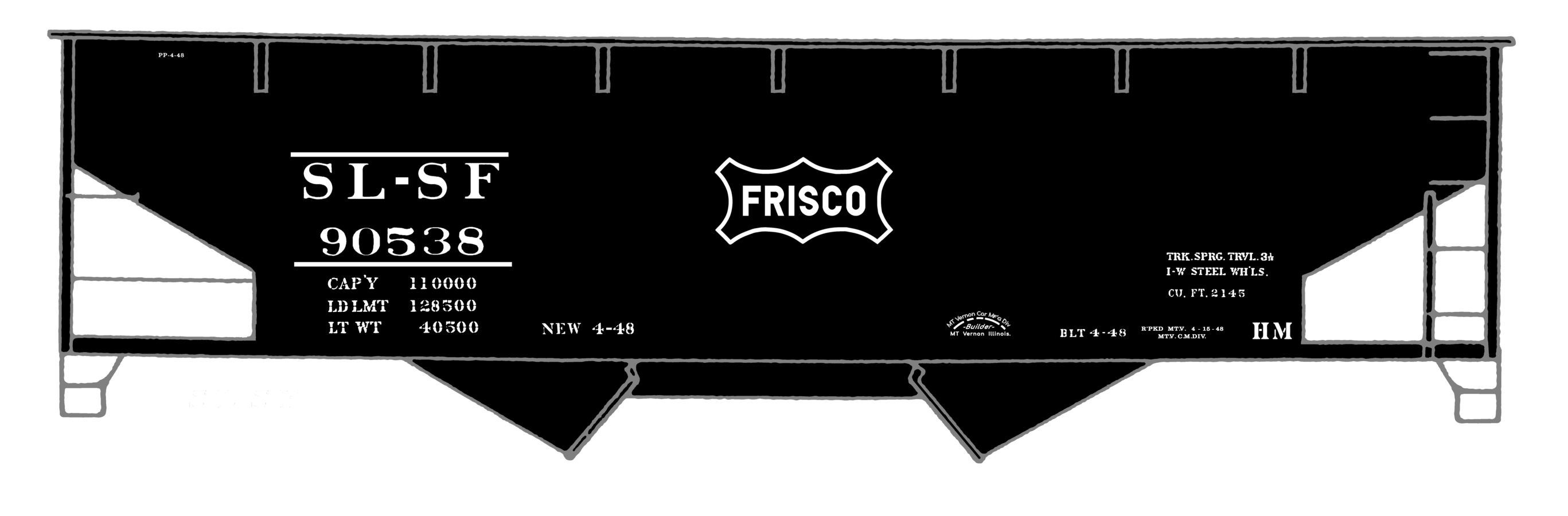 K4-S-Decals-SLSF-Frisco-Twin-Hopper-Car-White-Small-Herald thumbnail 3