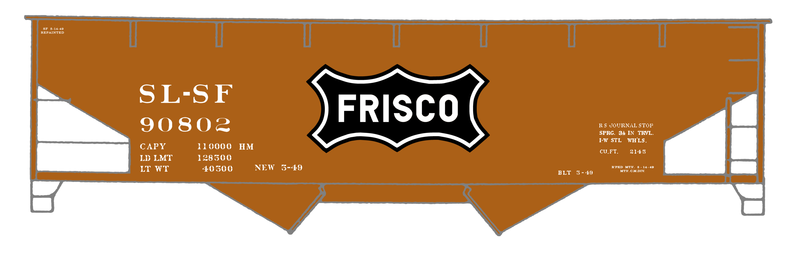 K4-HO-Decals-SLSF-Frisco-Twin-Hopper-Car-White-Large-Herald